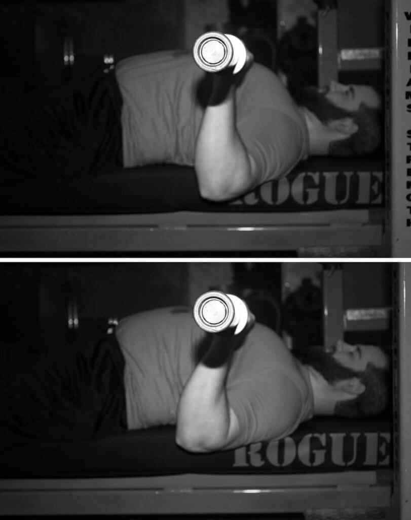 Top: Elbows roughly under the bar Bottom: Elbows over-tucked and in front of the bar, making the lift harder on the triceps.