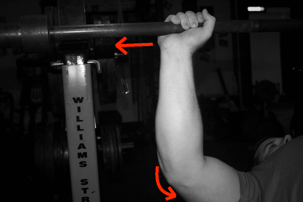 As the triceps contract, that tries to push the forearm laterally. It DOESN'T directly press the bar up.