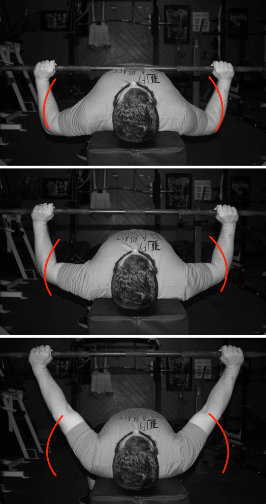 This is the path the elbows follow in the bench press. In the second pic (when the elbows are the furthest out), triceps demands peak.