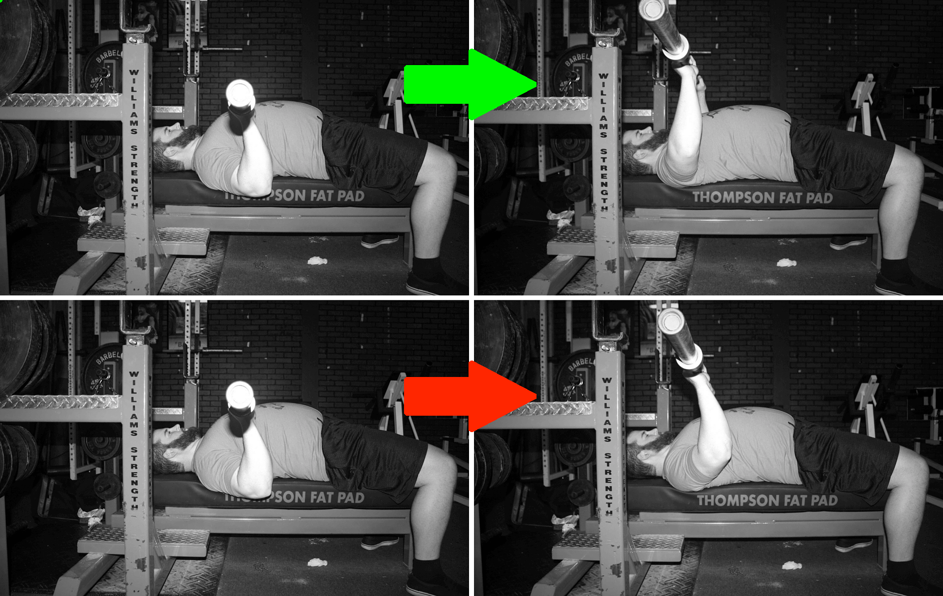 The top is acceptable: elbows slightly in front of the bar at the bottom, getting back under the bar through the midrange. The bottom is what you DON'T want to happen: elbows start in front of the bar and stay in front of the bar.