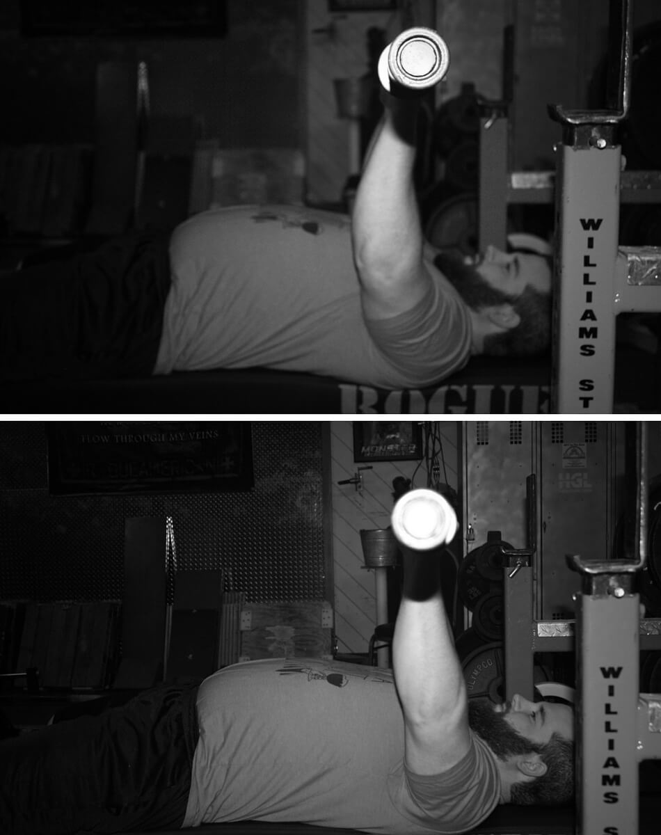 Top is incorrect – shoulders still externally rotated with elbows pointing more forward. Bottom is correct – shoulders internally rotated with elbows pointed out to the side. This will make lockout much easier.