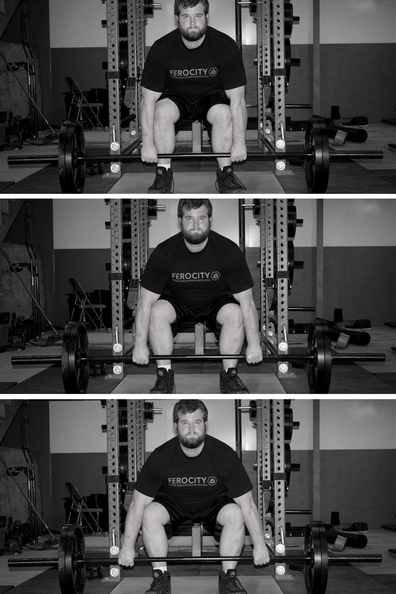 In the top picture, my grip is too narrow, forcing my arms to grind against my legs and forcing my knees in. In the middle picture, my grip is just right – my arms are just brushing my legs. On the bottom, my grip is too wide, which increases ROM and limits how much you can lift.