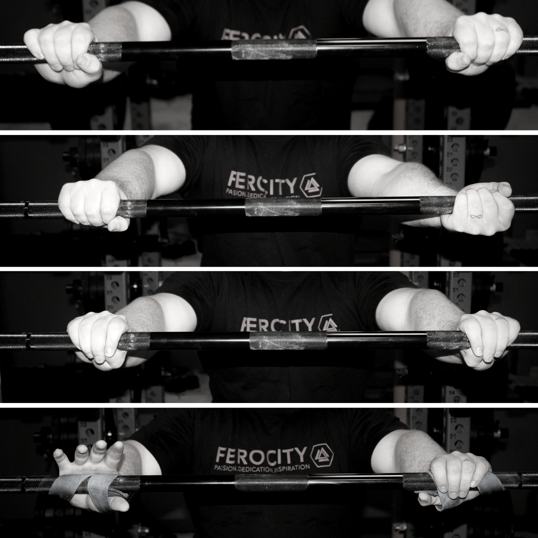 From top to bottom: double overhand, mixed grip, hook grip, and straps.